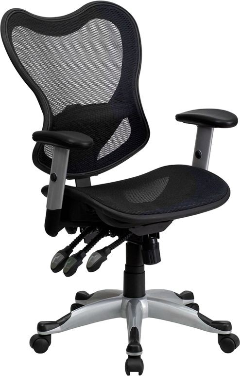 Flash Furniture GO-WY-55-GG Black Mid-Back Mesh Chair with Triple Paddle Control