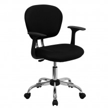 Flash Furniture H-2376-F-BK-ARMS-GG Mid-Back Black Mesh Task Chair with Arms