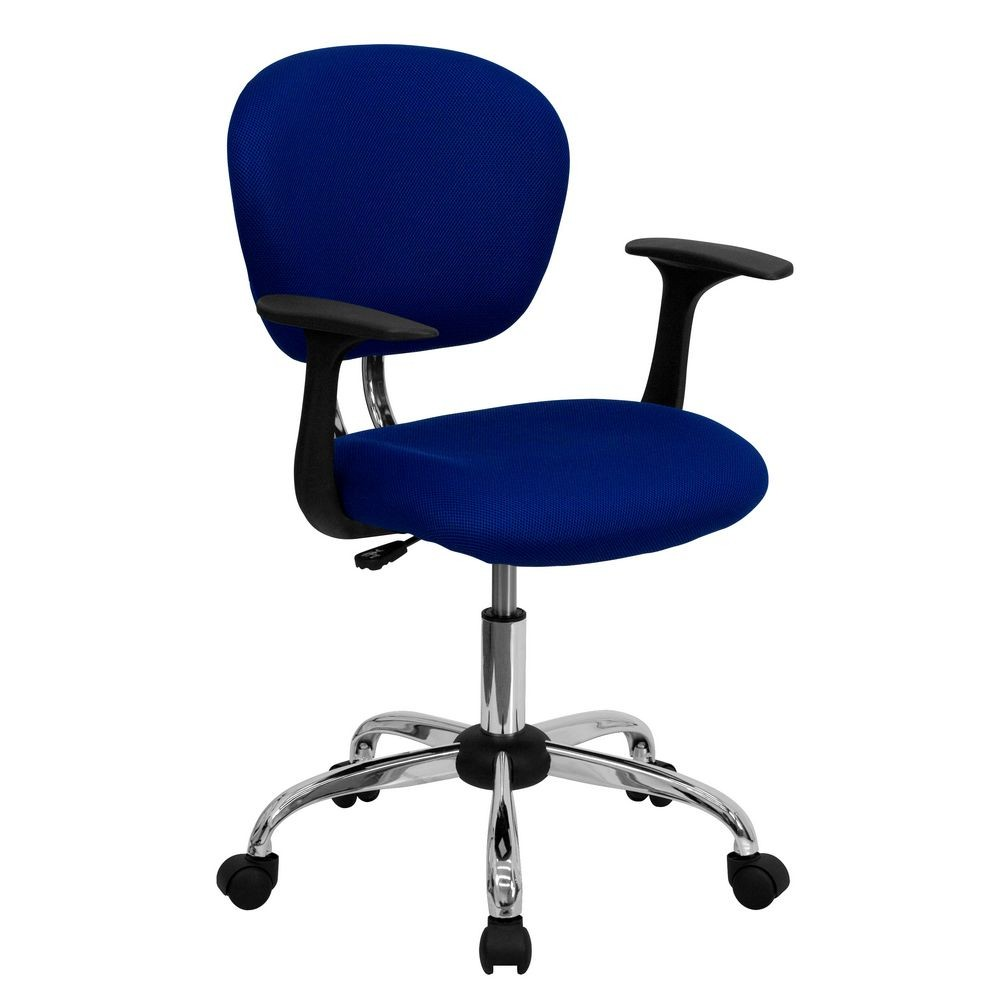 Flash Furniture H-2376-F-BLUE-ARMS-GG Mid-Back Blue Mesh Task Chair with Arms