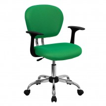 Flash Furniture H-2376-F-BRGRN-ARMS-GG Mid-Back Bright Green Mesh Task Chair with Arms