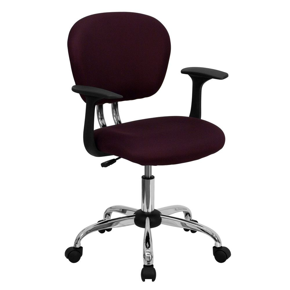 Flash Furniture H-2376-F-BY-ARMS-GG Mid-Back Burgundy Mesh Task Chair with Arms