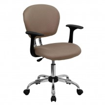 Flash Furniture H-2376-F-COF-ARMS-GG Mid-Back Coffee Brown Mesh Task Chair with Arms
