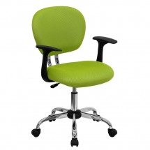 Flash Furniture H-2376-F-GN-ARMS-GG Mid-Back Apple Green Mesh Task Chair with Arms