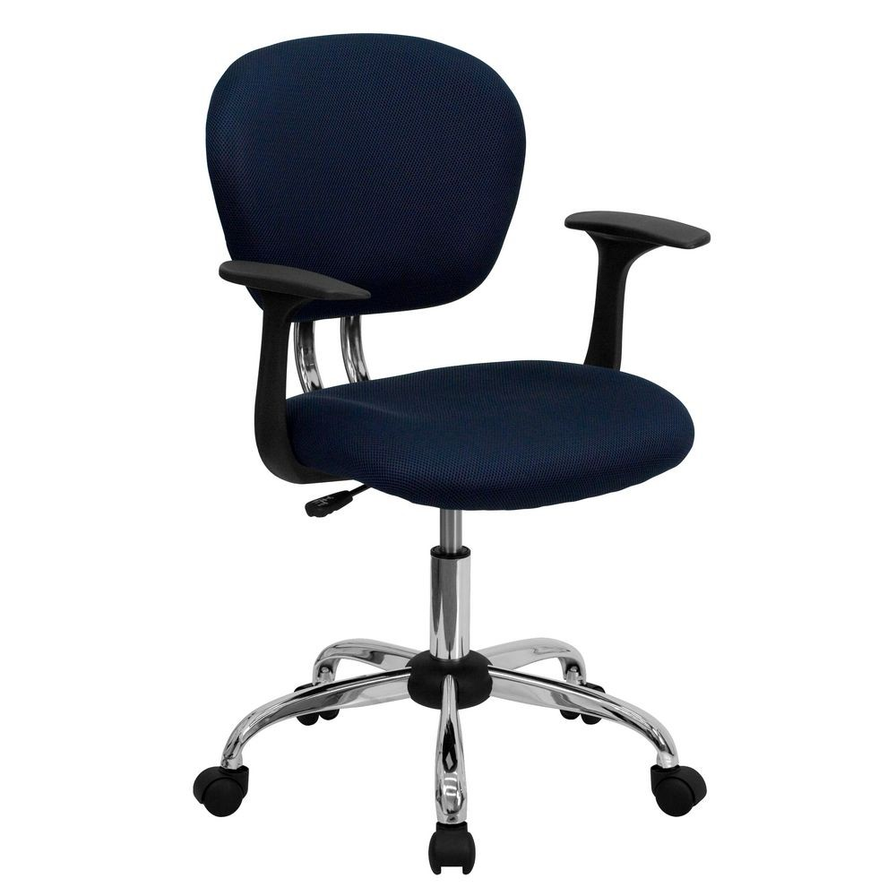Flash Furniture H-2376-F-NAVY-ARMS-GG Mid-Back Navy Mesh Task Chair with Arms