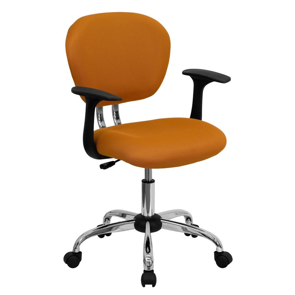 Flash Furniture H-2376-F-ORG-ARMS-GG Mid-Back Orange Mesh Task Chair with Arms