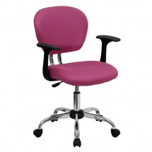Flash Furniture H-2376-F-PINK-ARMS-GG Mid-Back Pink Mesh Task Chair with Arms