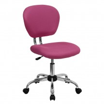 Flash Furniture H-2376-F-PINK-GG Mid-Back Pink Mesh Task Chair
