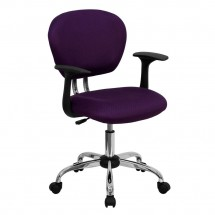 Flash Furniture H-2376-F-PUR-ARMS-GG Mid-Back Purple Mesh Task Chair with Arms