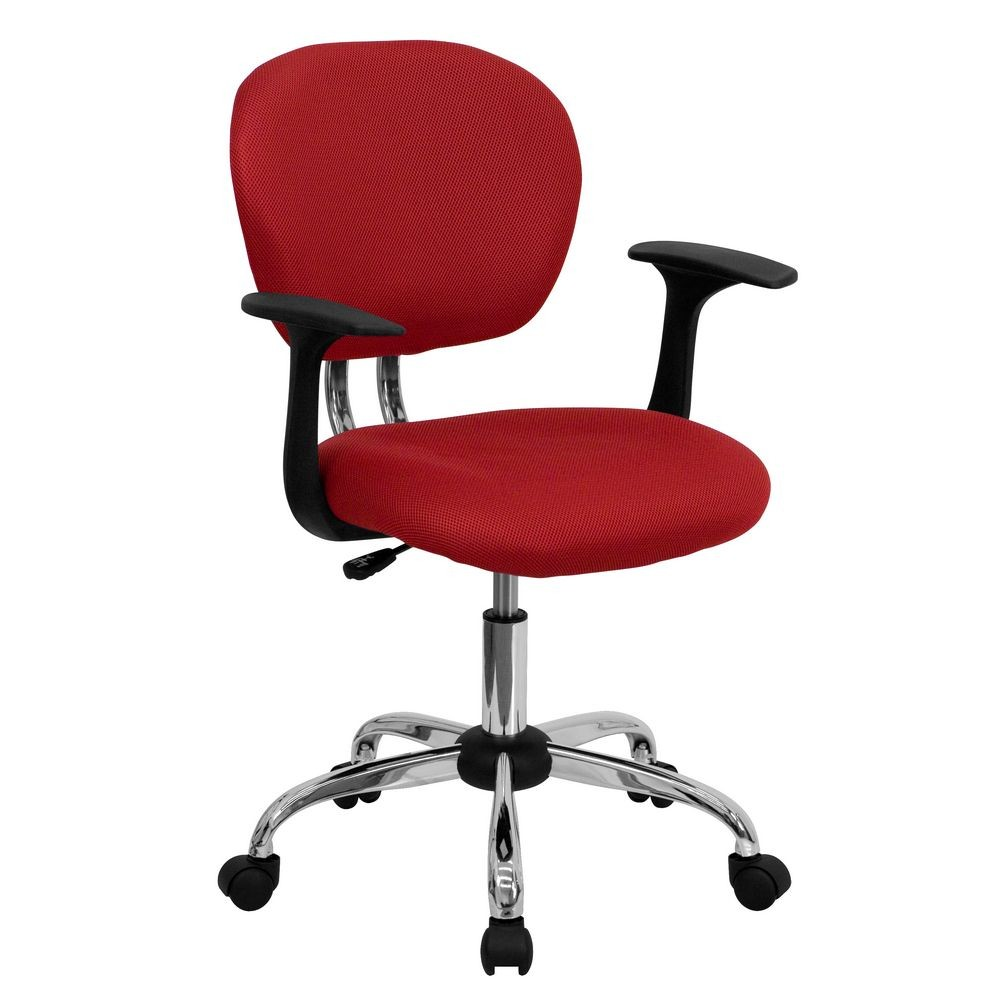 Flash Furniture H-2376-F-RED-ARMS-GG Mid-Back Red Mesh Task Chair with Arms