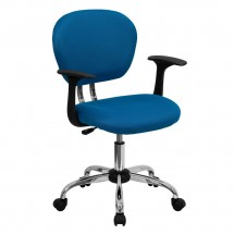 Flash Furniture H-2376-F-TUR-ARMS-GG Mid-Back Turquoise Mesh Task Chair with Arms