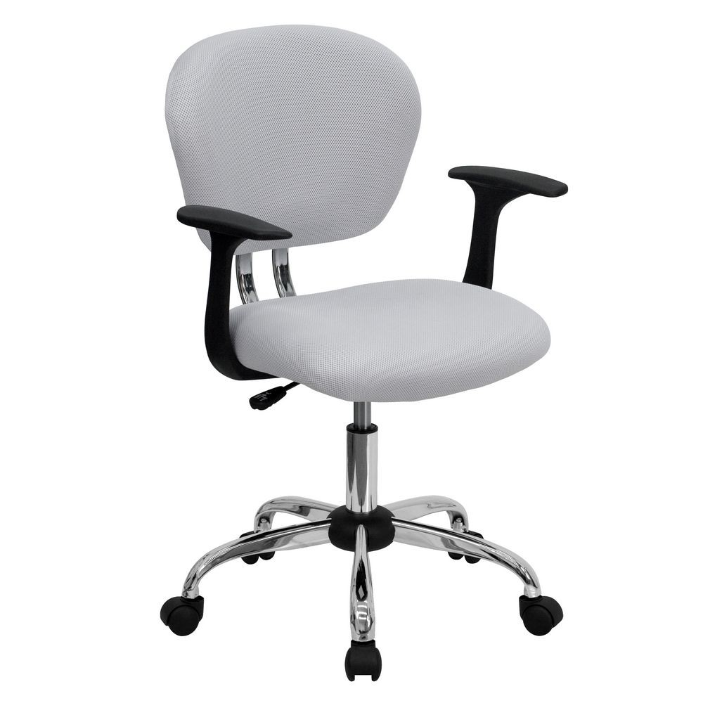 Flash Furniture H-2376-F-WHT-ARMS-GG Mid-Back White Mesh Task Chair with Arms