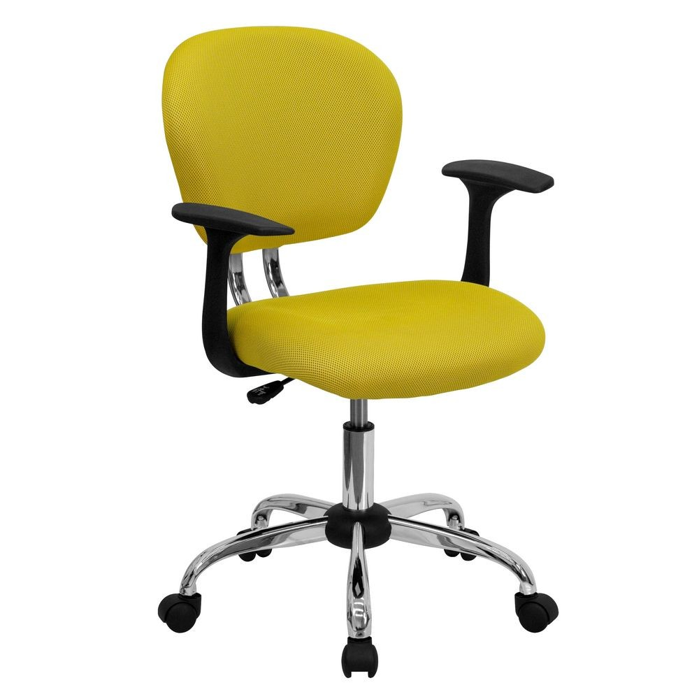 Flash Furniture H-2376-F-YEL-ARMS-GG Mid-Back Yellow Mesh Task Chair with Arms