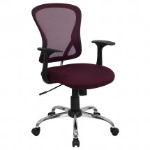 Flash Furniture H-8369F-ALL-BY-GG Mid-Back Burgundy Mesh Office Chair