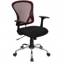 Flash Furniture H-8369F-BG-GG Mid-Back Burgundy Mesh Office Chair with Black Fabric Seat