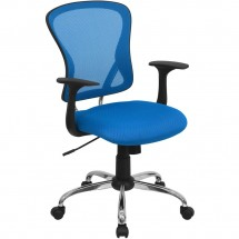 Flash Furniture H-8369F-BL-GG Mid-Back Blue Mesh Office Chair