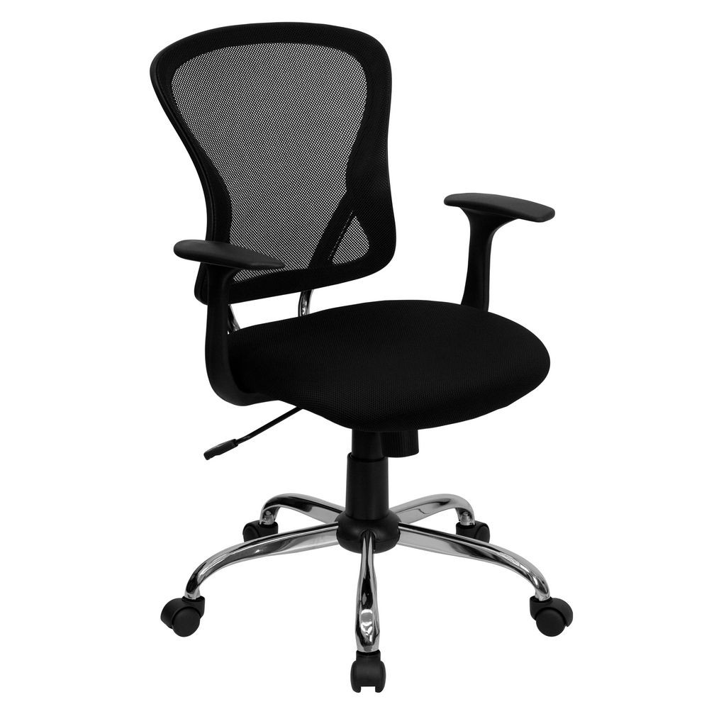 Flash Furniture H-8369F-BLK-GG Mid-Back Black Mesh Office Chair