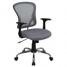 Flash Furniture H-8369F-GY-GG Mid-Back Gray Mesh Office Chair