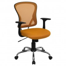 Flash Furniture H-8369F-ORG-GG Mid-Back Orange Mesh Office Chair