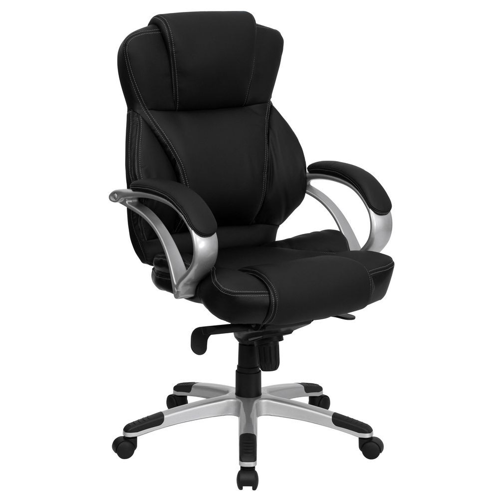 Flash Furniture H-9626L-2-GG High Back Black Leather Contemporary Office Chair
