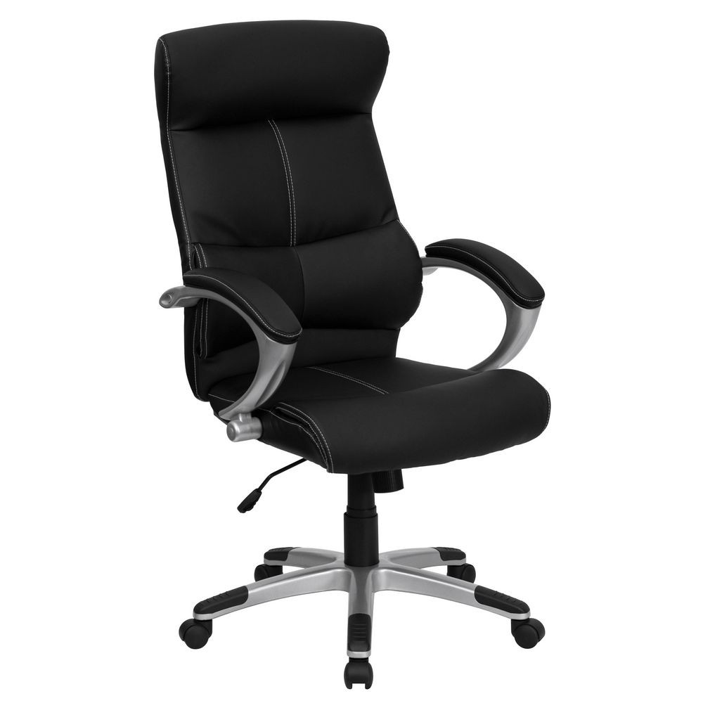 Flash Furniture H-9637L-1C-HIGH-GG High Back Black Leather Executive Office Chair