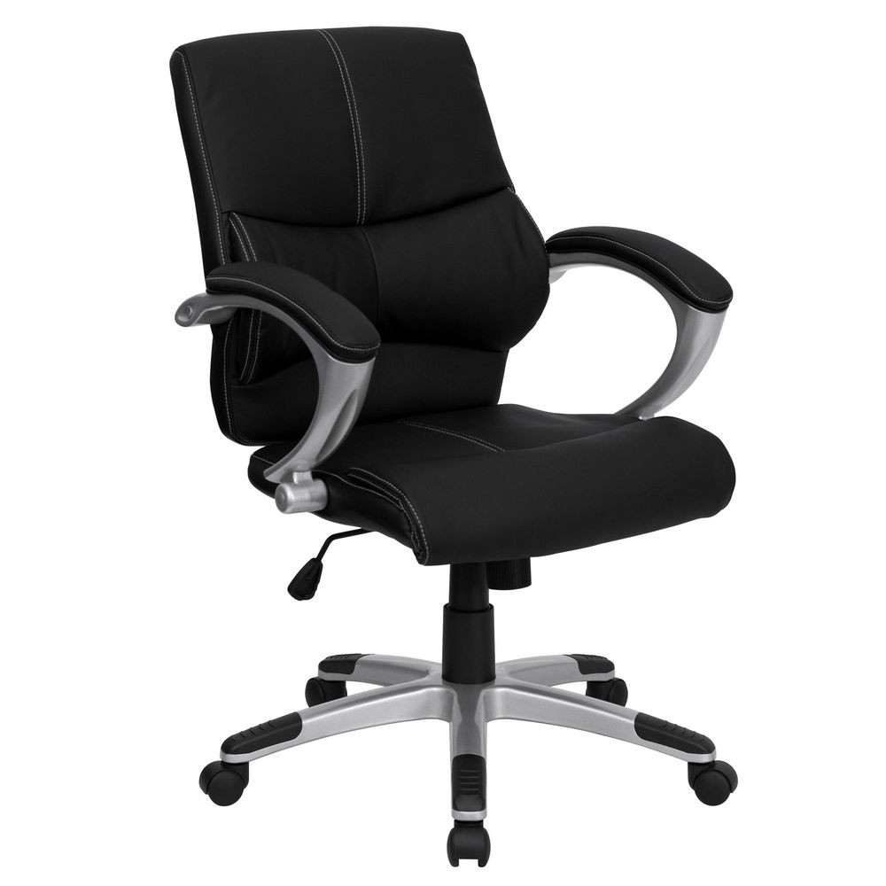 Flash Furniture H-9637L-2-MID-GG Mid-Back Black Leather Contemporary Manager's Office Chair