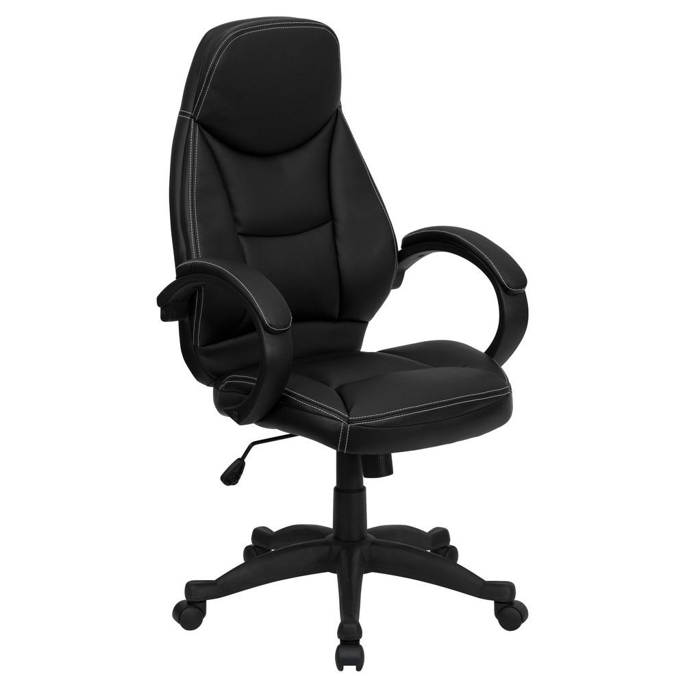 Flash Furniture H-HLC-0005-HIGH-1B-GG High Back Black Leather Contemporary Office Chair