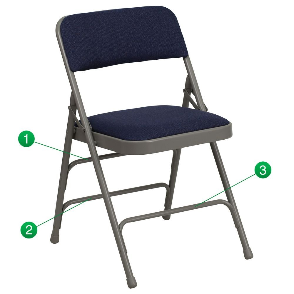 Flash Furniture HA-MC309AF-NVY-GG HERCULES Series Curved Triple Braced and Quad Hinged Fabric Upholstered Metal Folding Chair - Navy