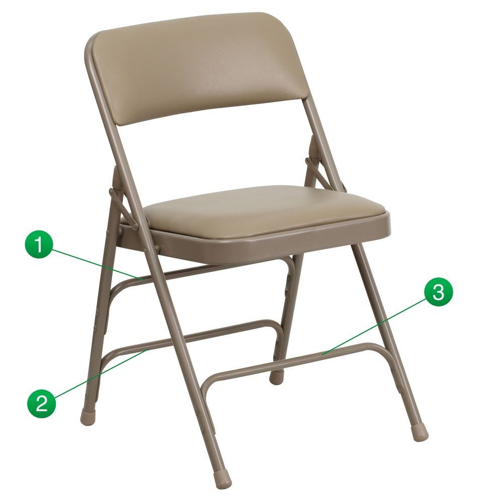 Flash Furniture HA-MC309AV-BGE-GG HERCULES Series Curved Triple Braced and Quad Hinged Vinyl Upholstered Metal Folding Chair - Beige