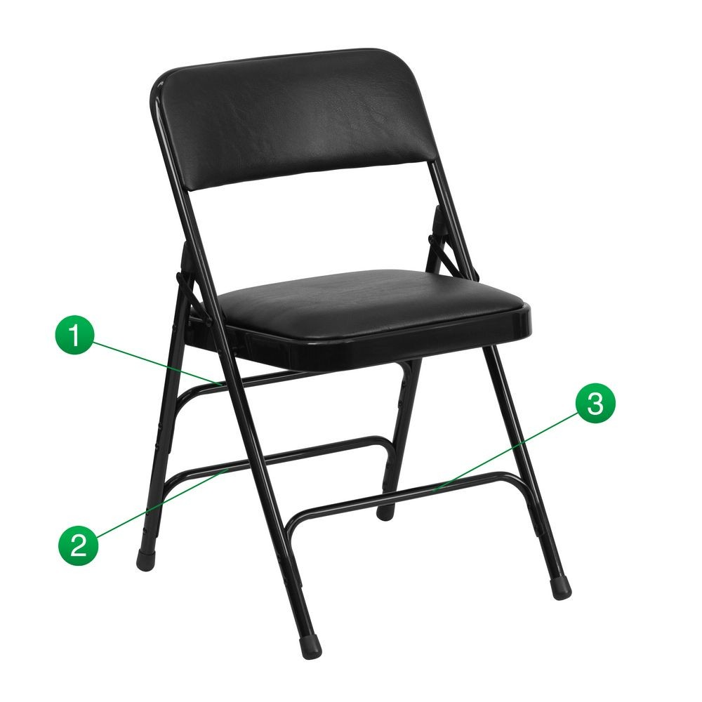 Flash Furniture HA-MC309AV-BK-GG HERCULES Series Curved Triple Braced and Quad Hinged Vinyl Upholstered Metal Folding Chair - Black
