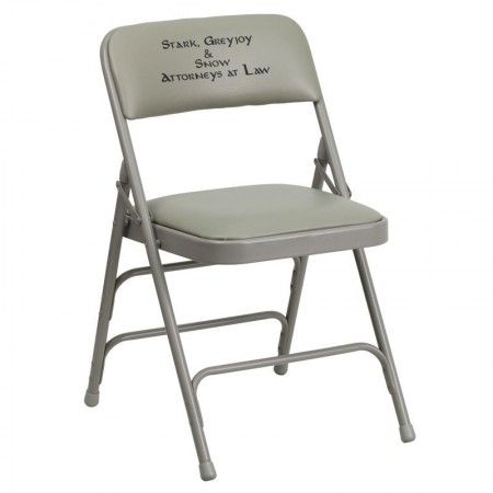 Flash Furniture HA-MC309AV-GY-GG HERCULES Series Curved Triple Braced and Quad Hinged Vinyl Upholstered Metal Folding Chair Gray