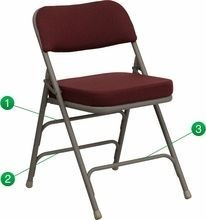 Flash Furniture HA-MC320AF-BG-GG HERCULES Series Premium Curved Triple Braced and Quad Hinged Fabric Upholstered Metal Folding Chair - Burgundy