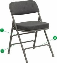 Flash Furniture HA-MC320AF-GRY-GG HERCULES Series Premium Curved Triple Braced and Quad Hinged Fabric Upholstered Metal Folding Chair - Gray