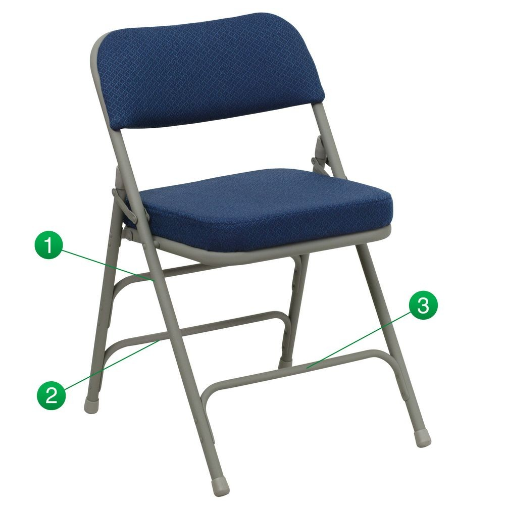 Flash Furniture HA-MC320AF-NVY-GG HERCULES Series Premium Curved Triple Braced and Quad Hinged Fabric Upholstered Metal Folding Chair - Navy