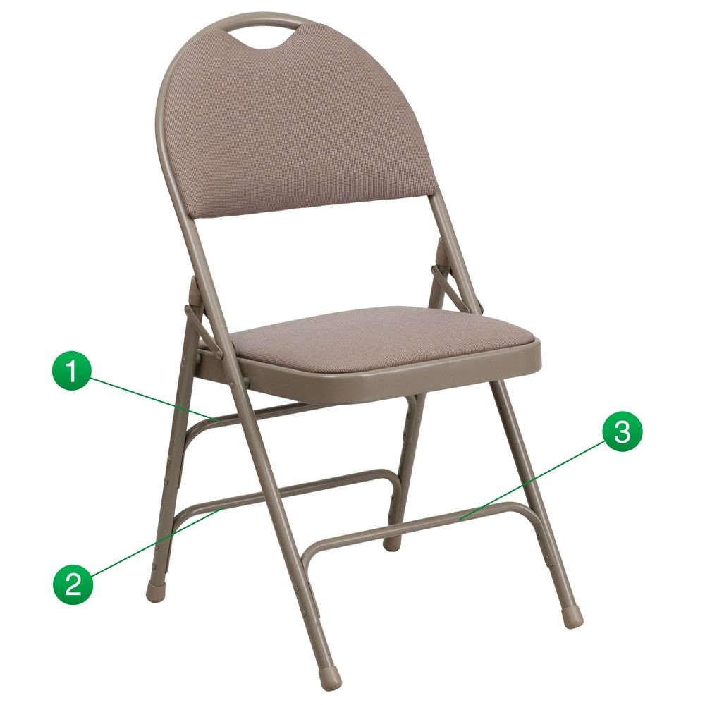 Flash Furniture HA-MC705AF-3-BGE-GG HERCULES Series Extra Large Ultra-Premium Triple Braced and Quad Hinged Fabric Metal Folding Chair - Beige