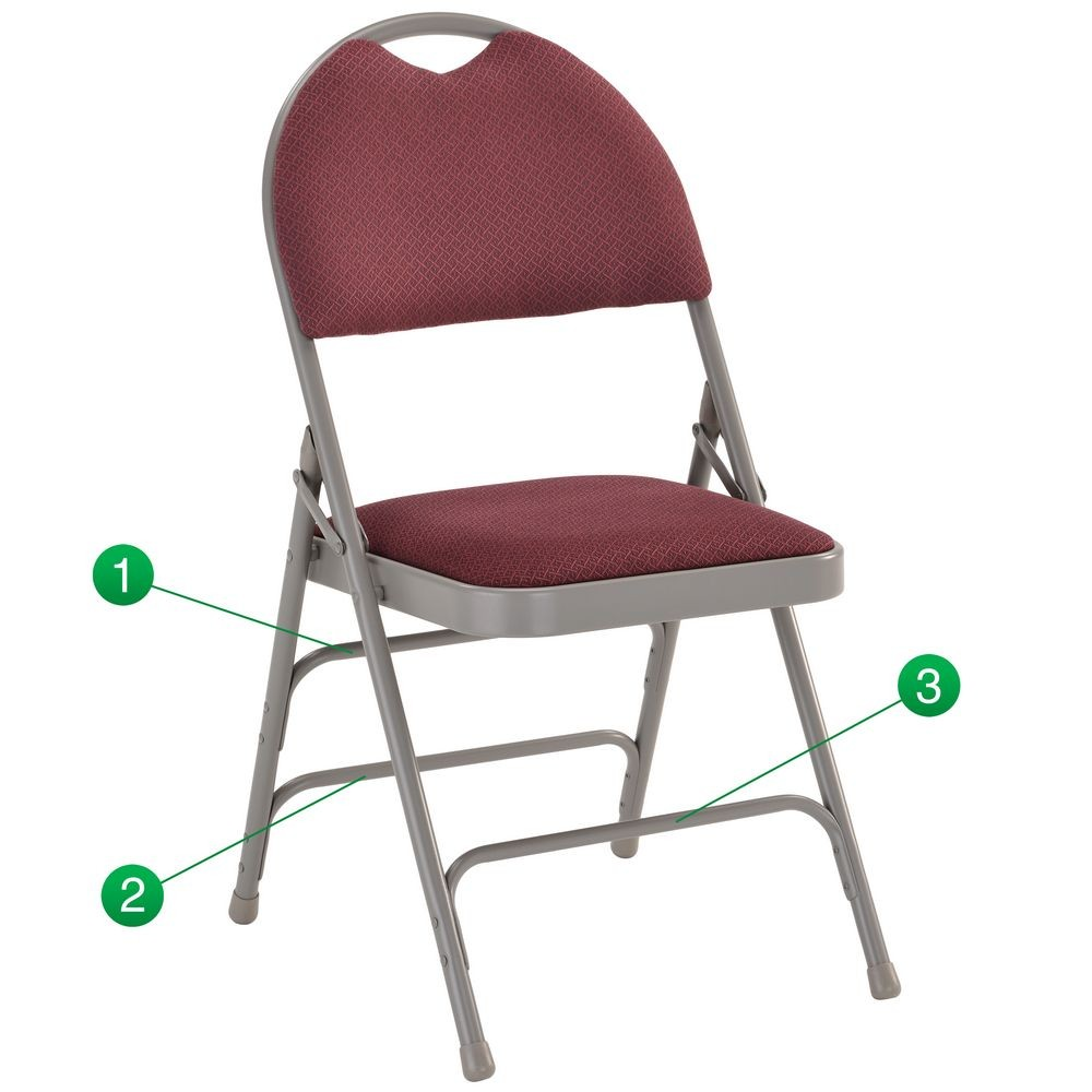 Flash Furniture HA-MC705AF-3-BY-GG HERCULES Series Extra Large Ultra-Premium Triple Braced Folding Chair - Burgundy