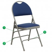 Flash Furniture HA-MC705AF-3-NVY-GG HERCULES Series Extra Large Ultra-Premium Triple Braced Metal Folding Chair - Navy