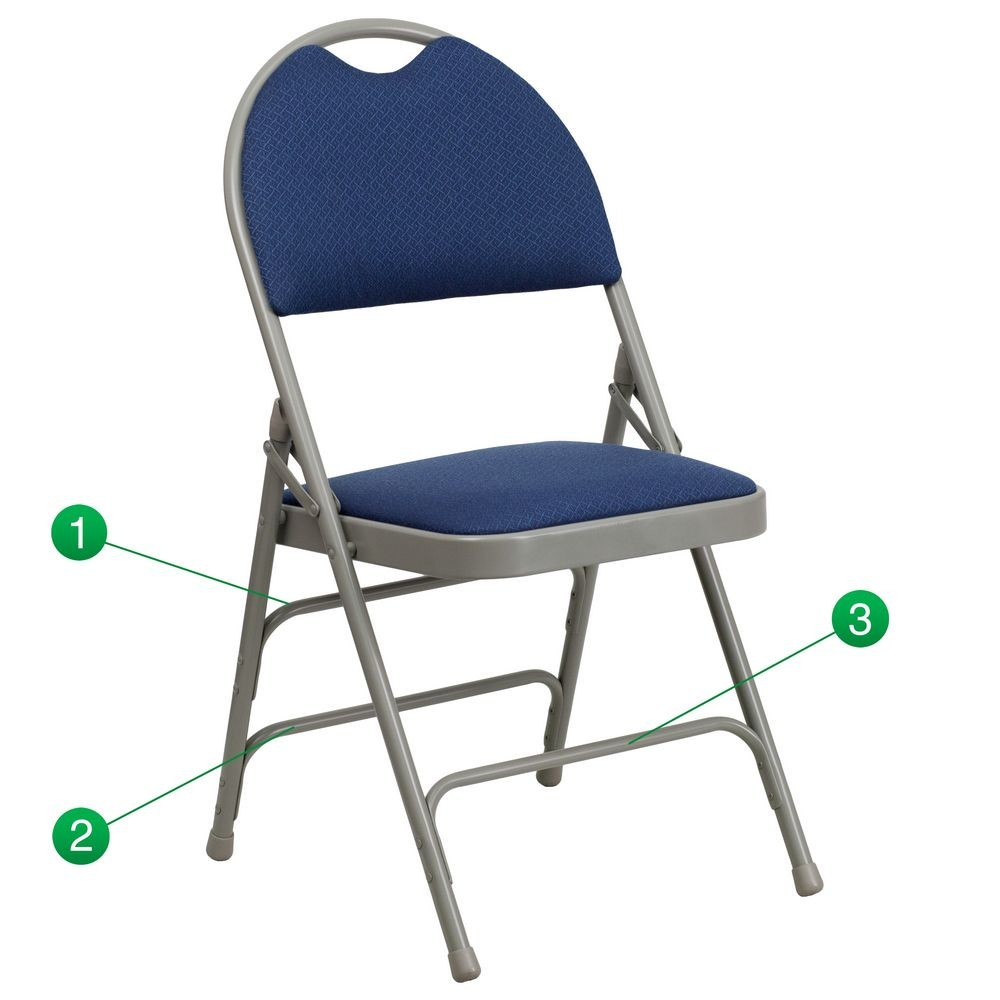 Flash Furniture HA-MC705AF-3-NVY-GG HERCULES Series Extra Large Ultra-Premium Triple Braced and Quad Hinged Fabric Metal Folding Chair - Navy