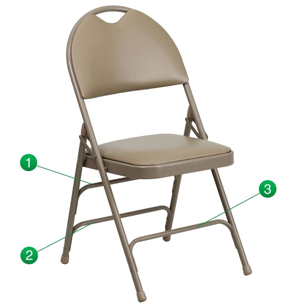 Flash Furniture HA-MC705AV-3-BGE-GG HERCULES Series Extra Large Ultra-Premium Triple Braced and Quad Hinged Vinyl Metal Folding Chair - Beige