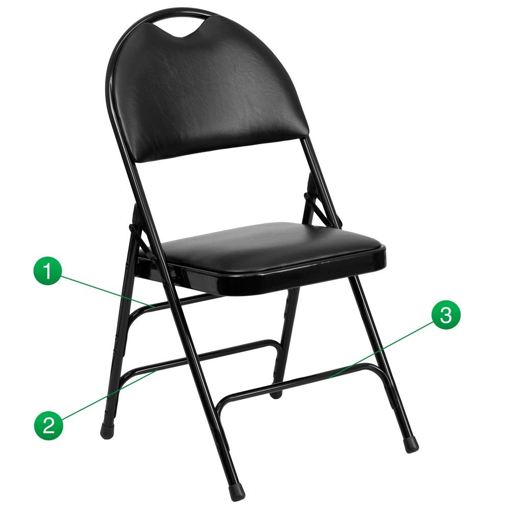 Flash Furniture HA-MC705AV-3-BK-GG HERCULES Series Extra Large Ultra-Premium Triple Braced Vinyl Metal Folding Chair - Black