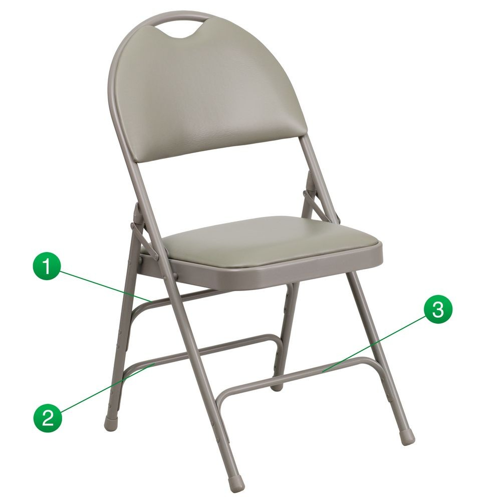 Flash Furniture HA-MC705AV-3-GY-GG HERCULES Series Extra Large Ultra-Premium Triple Braced Vinyl Metal Folding Chair - Gray