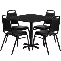 Flash-Furniture-HDBF1009-GG-36--Square-Black-Laminate-Table-Set-with-4-Black-Trapezoidal-Back-Banquet-Chairs
