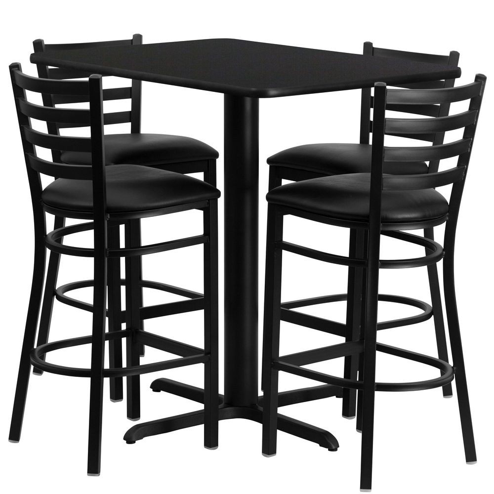 Flash Furniture HDBF1017-GG Rectangular Black Laminate Table Set with 4 Ladder Back Metal Bar Stools - Black Vinyl Seat, 24