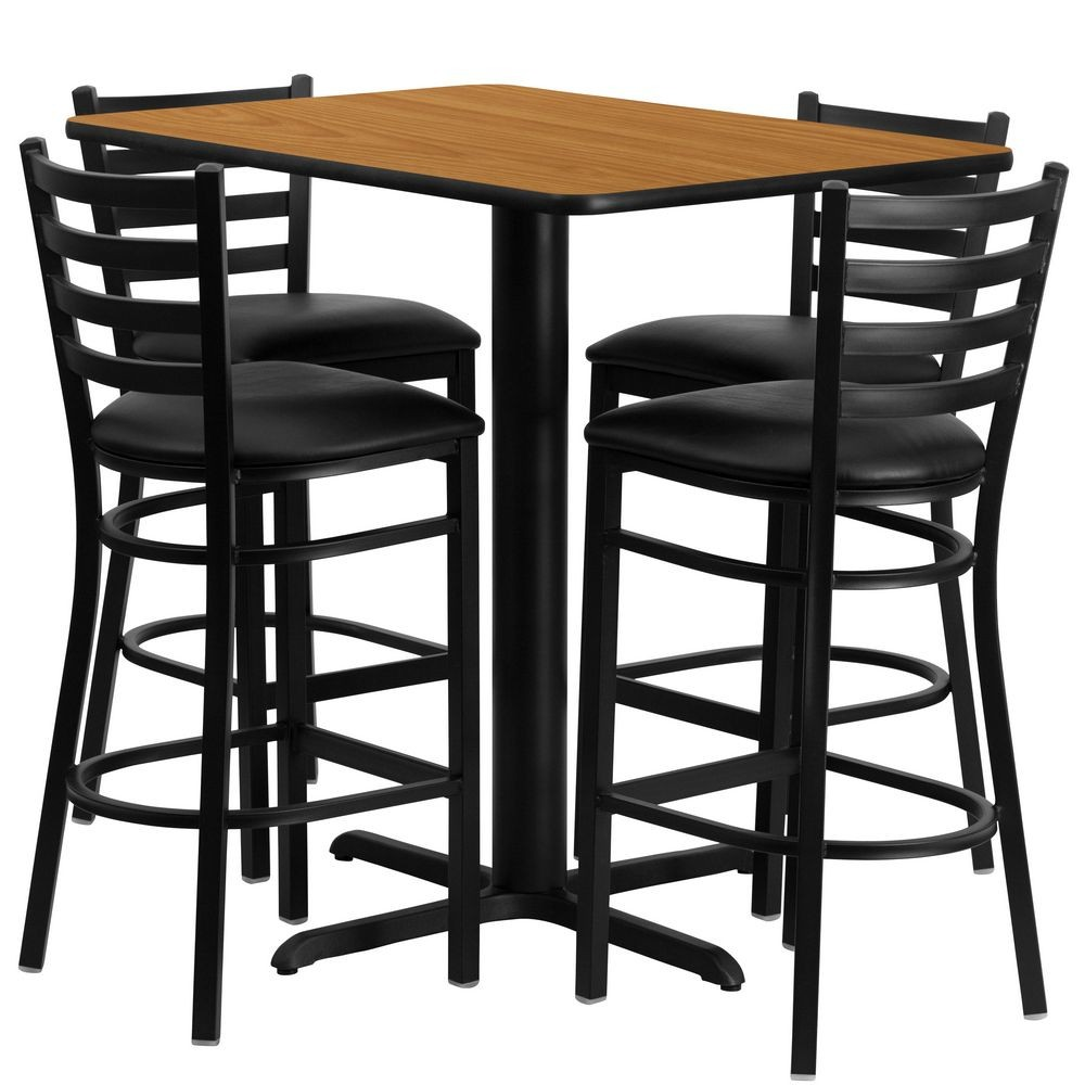 Flash Furniture HDBF1019-GG Rectangular Natural Laminate Table Set with 4 Ladder Back Metal Bar Stools - Black Vinyl Seat, 24