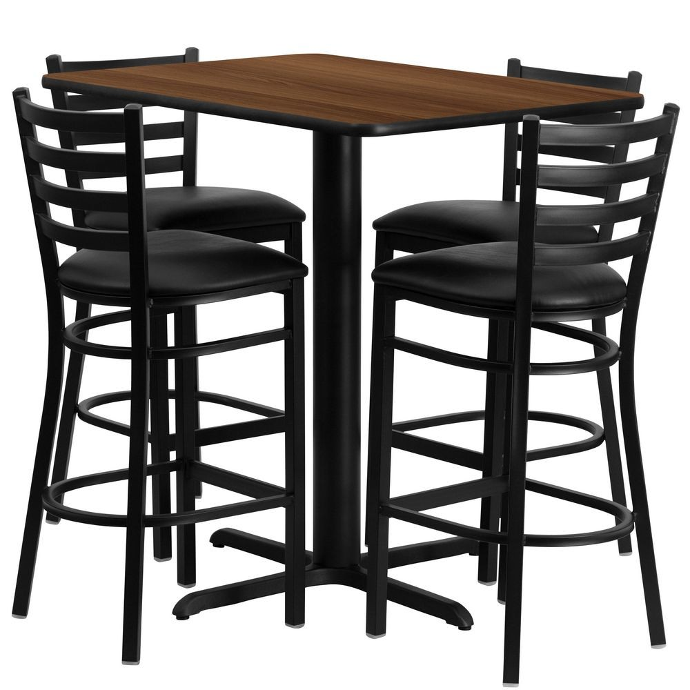 Flash Furniture HDBF1020-GG Rectangular Walnut Laminate Table Set with 4 Ladder Back Metal Bar Stools - Black Vinyl Seat, 24