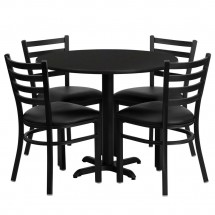 Flash-Furniture-HDBF1029-GG-36--Round-Black-Laminate-Table-Set-with-4-Ladder-Back-Metal-Chairs---Black-Vinyl-Seat