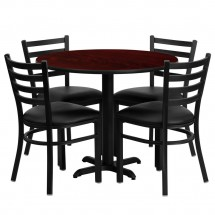 "Flash Furniture HDBF1030-GG 36"" Round Mahogany Laminate Table Set with 4 Ladder Back Metal Chairs - Black Vinyl Seat"