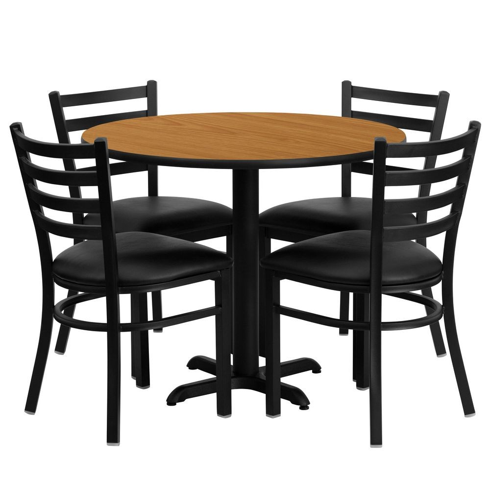 Flash Furniture HDBF1031-GG Round Natural Laminate Table Set with 4 Ladder Back Metal Chairs - Black Vinyl Seat 36""