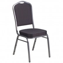 Flash Furniture HF-C01-SV-E26-BK-GG HERCULES Series Crown Back Stacking Banquet Chair with Black Patterned Fabric