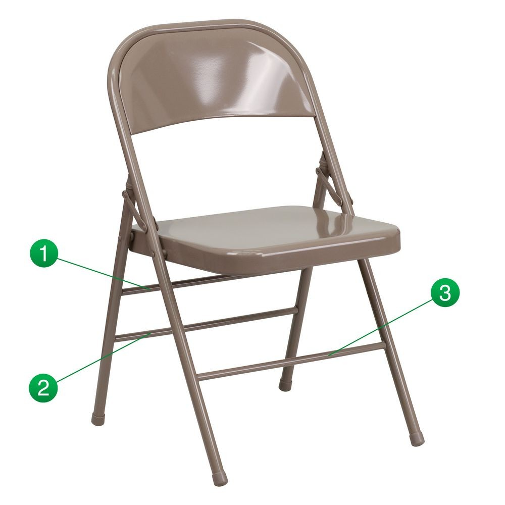 Flash Furniture HF3-MC-309AS-BGE-GG HERCULES Series Triple Braced and Quad Hinged Beige Metal Folding Chair