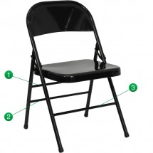 Flash Furniture HF3-MC-309AS-BK-GG HERCULES Series Triple Braced and Quad Hinged Black Metal Folding Chair